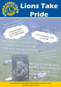 Lions Take Pride Litter Pick @ King George V Playing Field